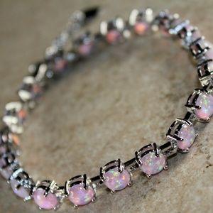Jewelry - Pink Fire Opal Round Silver Bracelet